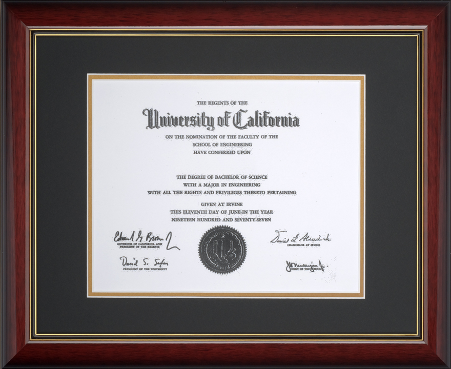 shaded brandy diploma frame with a black top mat and gold bottom mat - Diploma Frame Size